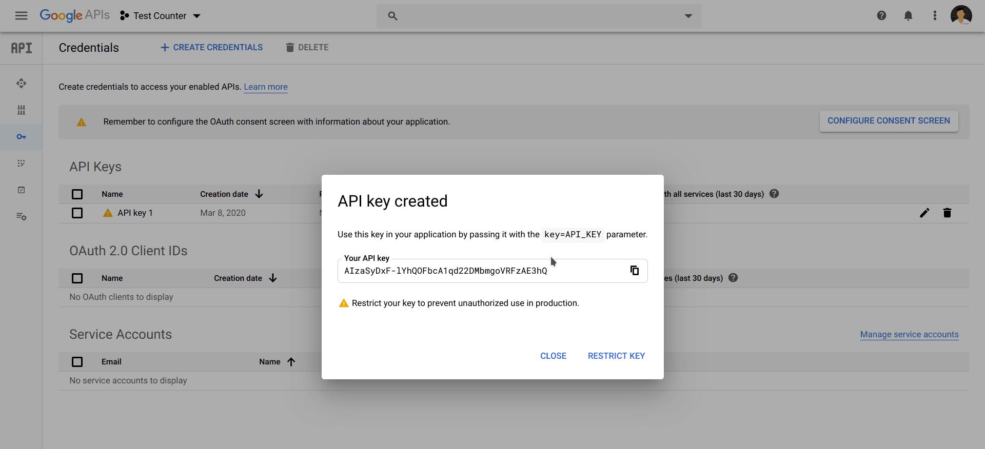 Google Developer Console API Dialog